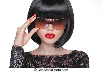 verão, conceito, beleza, jovem, óculos de sol, mulher, atraente, retrato, moda