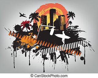 verão, conceito, cidade, centro cidade, partido, praia
