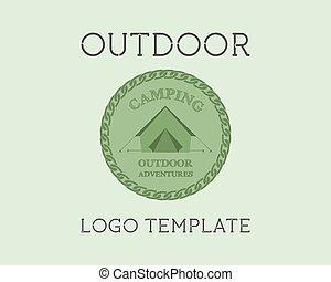verão, conceito, etiquetas, campground, ao ar livre, ...