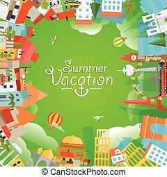 verão, conceito, illustration., viagem, férias, vetorial