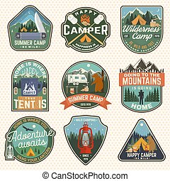 verão, conceito, marshmallow, reboque, projeto fixo, patch., rv, silueta, camisa, acampamento, vindima, floresta, vector., logotipo, urso, campfire, barraca, impressão, badges., acampamento, tipografia, selo, machado, ou