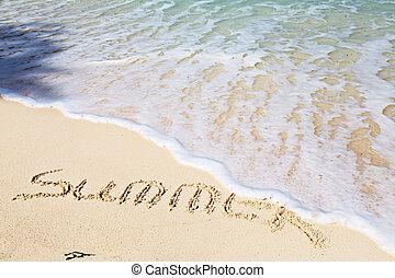 verão, conceito, palavra, -, férias, fundo, praia, arenoso