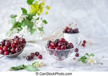 verão, conceito, pratos, vaso vidro, cereja, macio, seletivo...