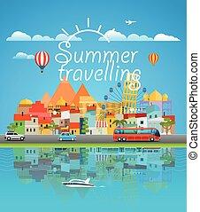 verão, concept., ilustração, vetorial, ásia, cityscape, viajar, viagem