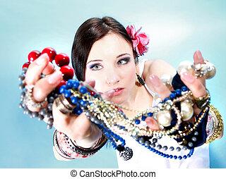verão, contas, jóia, abundância, mãos, menina