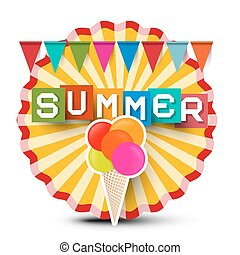 verão, cream., coloridos, título, vindima, adesivo, gelo, retro, label., laranja, bandeiras, círculo