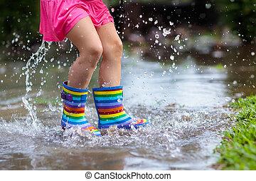 verão, criança, guarda-chuva, rain., tocando