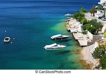 verão,  Dalmatian, paisagem, costa