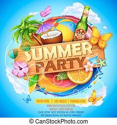 verão, desenho, partyl, cartaz