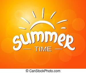 verão, -, desenho, tipográfico, tempo