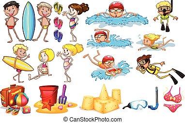 verão, desfrutando, grupo, crianças