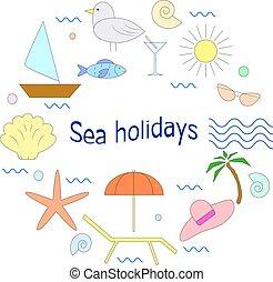 verão, diferente, conceito, negócio, elements., f, bandeiras, camisetas, férias, ilustração, feriados, vetorial, mar, original, outro, tipos, design.