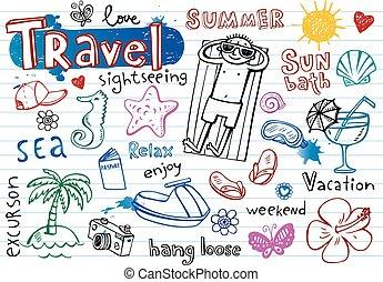 verão, doodle, jogo