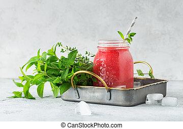 verão, drink., refrescar