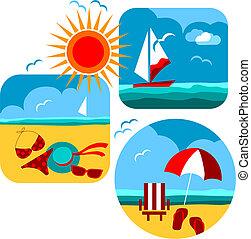 verão, e, viaje ícones, de, praia, e, mar