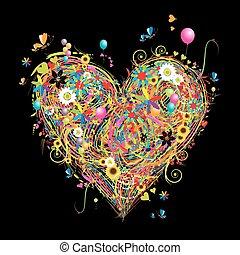 verão, elementos, coração, feriado, forma, desenho