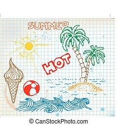 verão, elementos, doodle