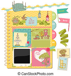 verão, elementos, jardim, -, vetorial, desenho, scrapbook,...