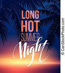 verão, elementos, mar, cartaz, tipográfico, ilustração, quentes, vetorial, desenho, fundo, noturna, partido, praia