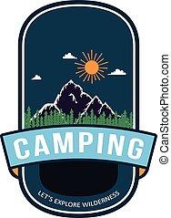 verão, emblema, desenho, acampamento