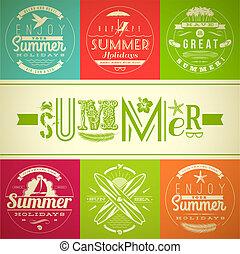 verão, emblema, férias, feriados