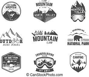 verão, emblema, sinal., campsite, hiking, montanha, ...