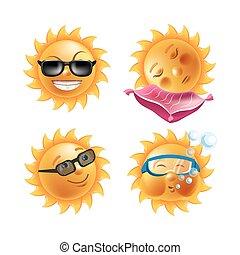 verão, emoticons, jogo, ícones, sol, vetorial, caras, sorrisos, caricatura, emoji
