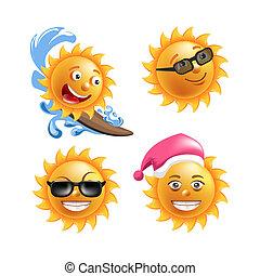 verão, emoticons, sorrisos, sol, caricatura, expressions., caras, feliz, ou, emoji
