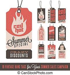 verão, enforcar, vendas, etiquetas