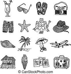 verão, esboço, jogo, doodle, férias, isons