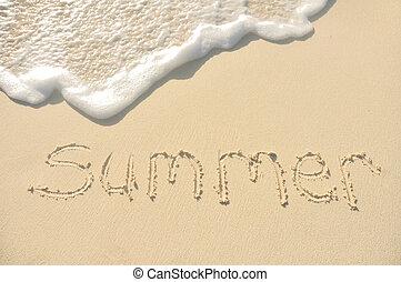 verão, escrito, em, areia, ligado, praia