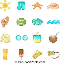 verão, estilo, ícones, jogo, itens, caricatura