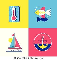verão, estilo, elementos, coloridos, apartamento, -, desenho, tempo