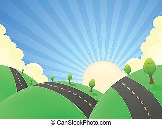 verão, estrada, caricatura, paisagem
