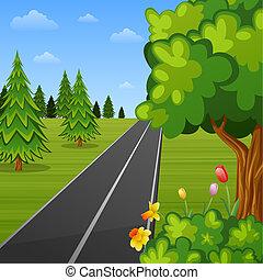 verão, estrada, paisagem, árvores
