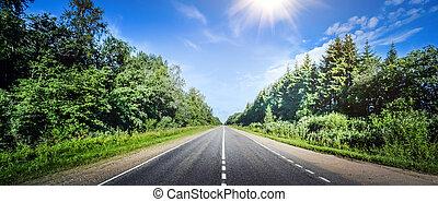 verão, estrada, panorama