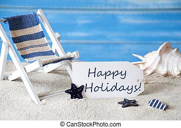 verão, etiqueta, com, cadeira convés, feliz, feriados