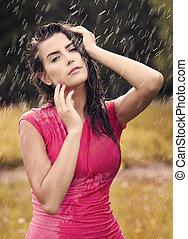 verão, excitado, mulher, pingo chuva