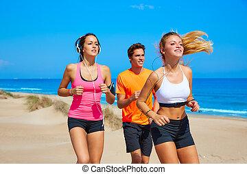 verão, executando, praia, amigos, feliz
