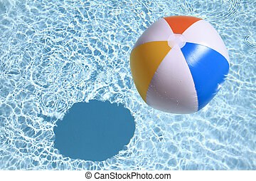 verão, experiência., esfera praia, ligado, a, piscina