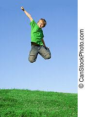 verão, exterior, pular, criança, feliz