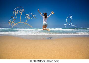 verão, férias, conceito