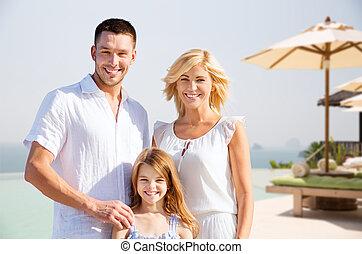 verão, férias familiar, recurso, praia, feliz