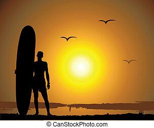 verão, férias, surfando