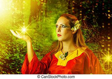 verão, fada, mulher, magia, floresta