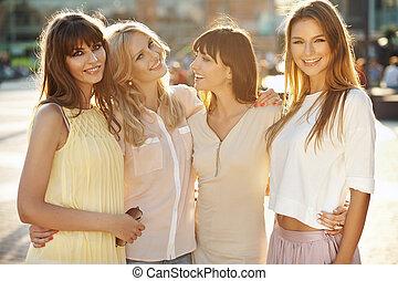 verão, fantástico, meninas, quatro, tarde, durante