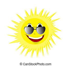 verão, feliz, óculos de sol, sol