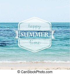 verão, feliz, cartaz, tempo
