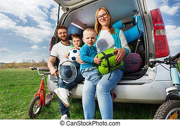 verão, feliz, sporty, férias familiar
