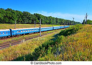 verão, ferrovia, paisagem
